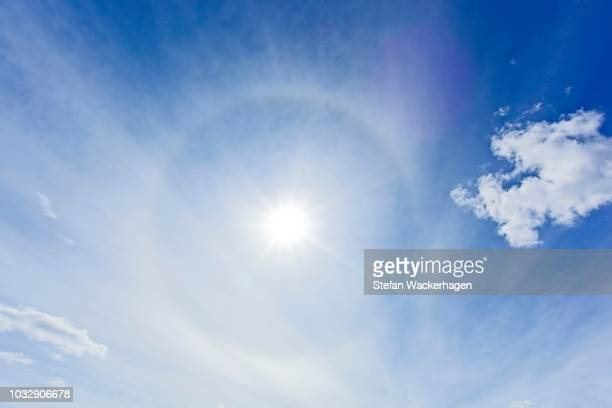 circle around the sun, parhelic circle, 22 halo, optical phenomenon, yukon territory, canada, canada - light natural phenomenon stock pictures, royalty-free photos & images