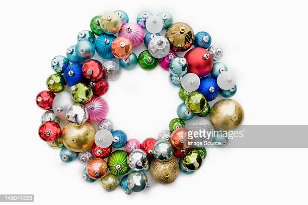 circle made of christmas baubles - wreath stock pictures, royalty-free photos & images