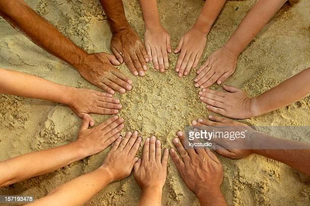 Circle Mandala of 12 Diverse Hands