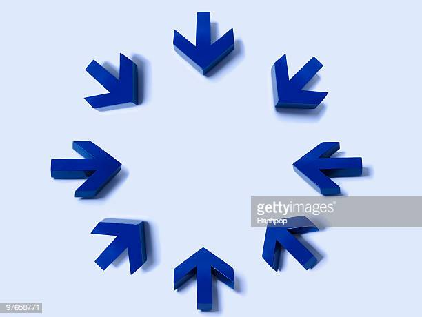 Circle of blue arrows pointing inwards