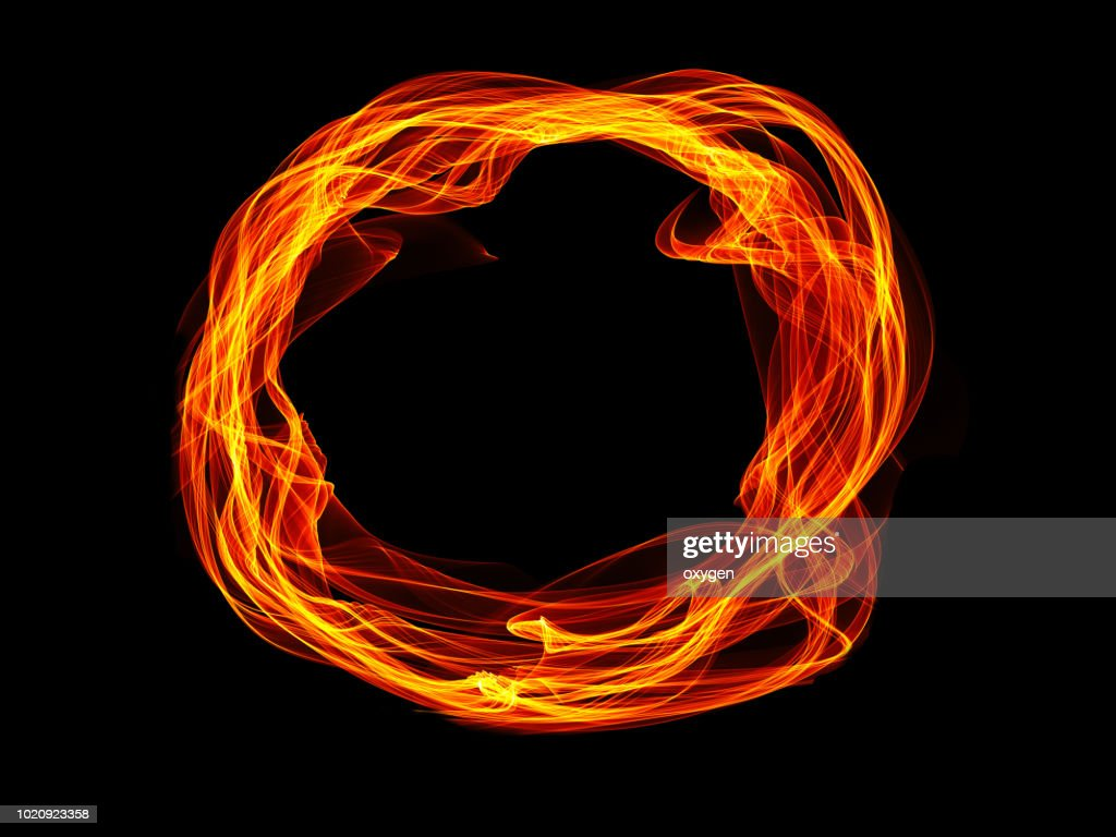 Circle of fire isolated on black : Stock Photo