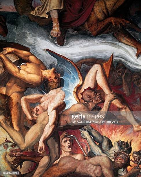 Circle of hell from the Divine Comedy by Dante Alighieri Nazarene school 19th century fresco in the casino of Villa Massimo Lancellotti Rome Italy...