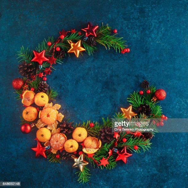 Circle of Seasons flatlay: Christmas wreath