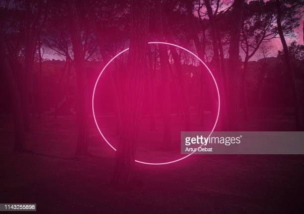 circle red light between pine trees with futuristic visual effect. - actuación conceptos fotografías e imágenes de stock