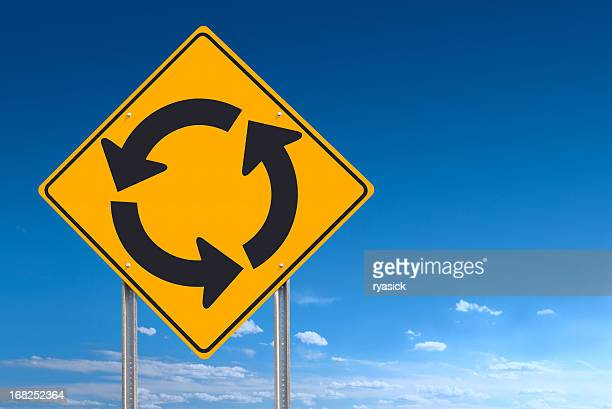 Circle Roundabout Road Sign Post Over Blue Sky Background