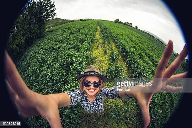 circle selfie - fish eye lens stock pictures, royalty-free photos & images