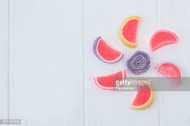 circle shape made with gummy candies.