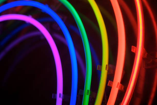 Circles of Neon Rainbow Light