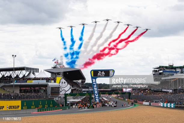 Circuit atmosphere - air display by the Patrouille de France over the grid before the start of the race during the Le Mans 24 Hour Race at the...