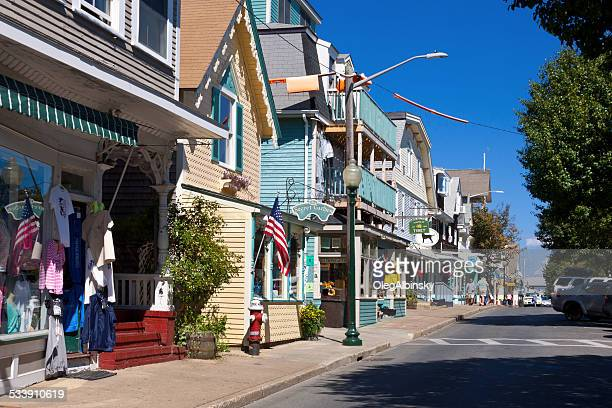 circuit avenue in oak bluffs, martha's vineyard, massachusetts, usa. - martha's_vineyard stock pictures, royalty-free photos & images