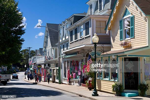 circuit avenue in oak bluffs, martha's vineyard, massachusetts, usa. - marthas vineyard stock pictures, royalty-free photos & images