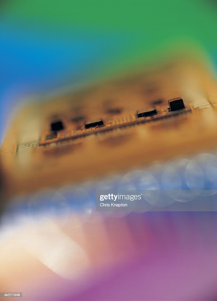 Circuit board abstraction, dynamic lighting and color : Stock Photo