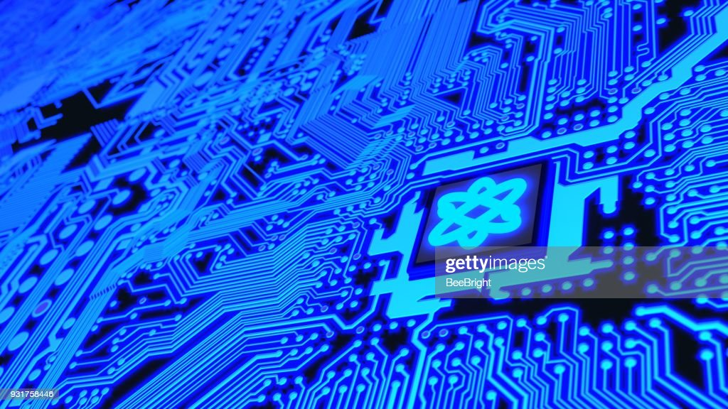 Circuit board in blue with a chip and a molecule symbol quantum computing : Stock Photo