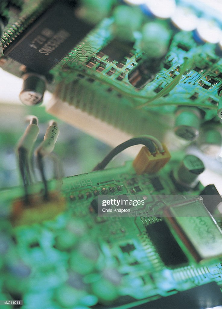 Circuit board pieces, fully plugged in : Stock Photo