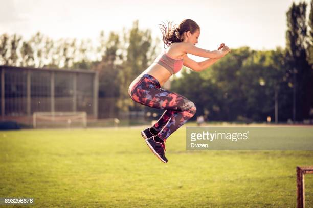 circuit training on hot summer day - circuit training stock photos and pictures
