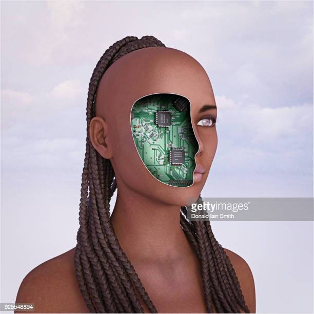 Circuits in face of robot woman