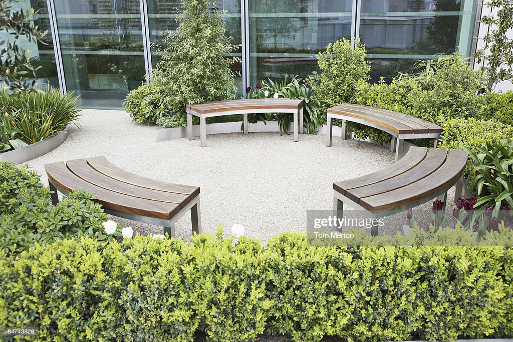 Circular benches in courtyard : Stock Photo