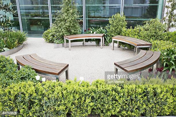 Circular benches in courtyard