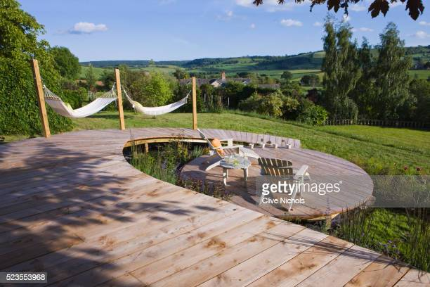 Circular Deck with Walkway, Deck Chairs and Hammock