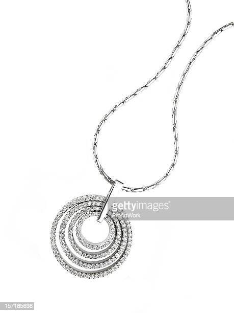 circular diamond pendant necklace isolated on white - necklace stock pictures, royalty-free photos & images