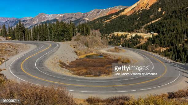 'Circular elevated view of Colorado State Highway 550 known as 'Million Dollar Highway' threads its way from Silverton to Ouray