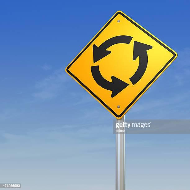 Circular Intersection Road Warning Sign
