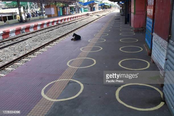 Circular marks on a platform of Barasat Station to help passengers maintain social distance during Unlock 4.