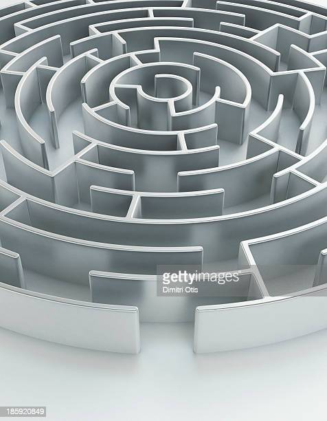 Circular metal maze with entrance in foreground