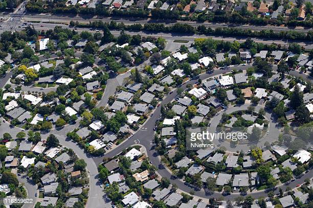 circular neighborhood aerial view - santa clara county california stock pictures, royalty-free photos & images