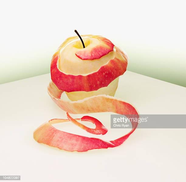 Circular peeled red apple