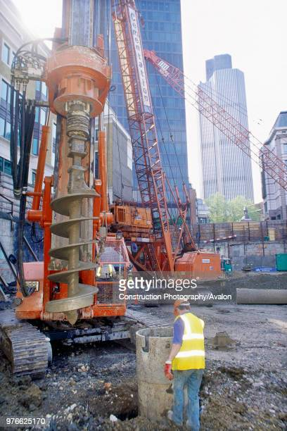 Circular piled foundations under installation for the Swiss Re Tower by Sir Norman Foster now a London landmark London United Kingdom