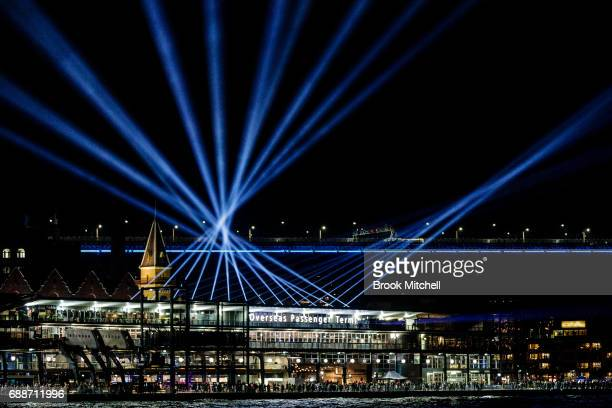 Circular Quay is lit up for Vivid on May 26 2017 in Sydney Australia Vivid Sydney is an annual festival that features light sculptures and...