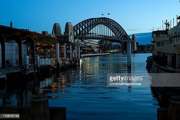 Circular Quay overlooking Sydney Harbour Bridge at dusk Sydney New South Wales NSW Australia