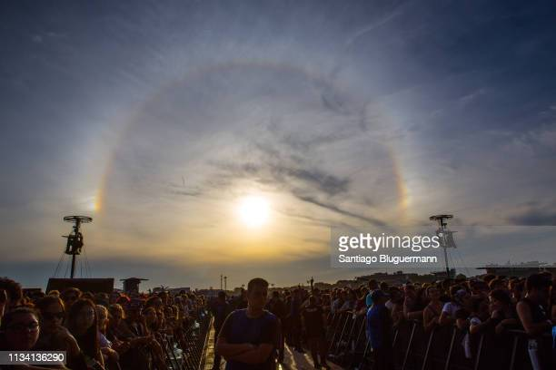 Circular rainbow appears in the sky during the third day of Lollapalooza Buenos Aires 2019 at Hipodromo de San Isidro on March 31, 2019 in Buenos...