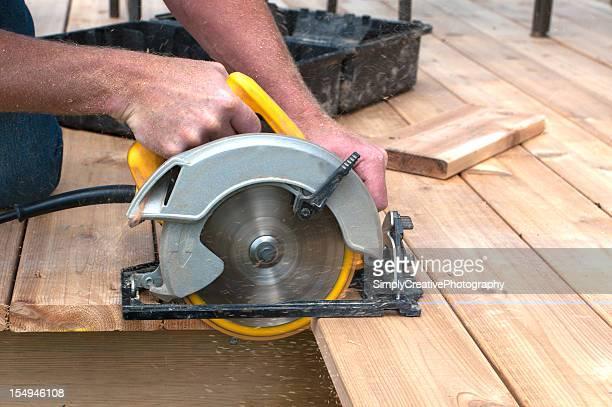 Circular Saw cutting Deck Planks