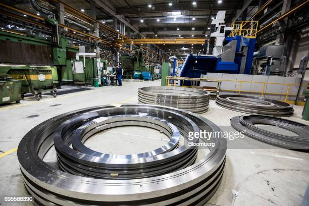 Circular steel turbine seals lie on the floor inside the General Electric Co power plant in Veresegyhaz Hungary on Tuesday June 13 2017 General...