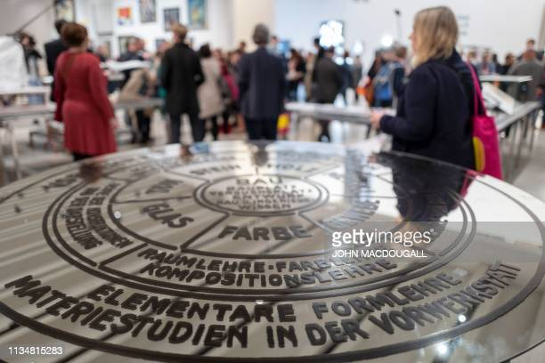 Circular study plan detailing the learning concept of the Bauhaus is on display at the new Bauhaus museum in Weimar, eastern Germany, on April 4,...