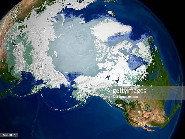 circum-arctic permafrost, modis daily snow cover and sea ice surface temperature over the arctic region on may 19, 2003. - circum navegação - fotografias e filmes do acervo