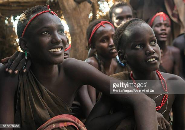 Circumcised boys from the dassanech tribe staying together until they are healed omo valley omorate Ethiopia on March 16 2016 in Omorate Ethiopia