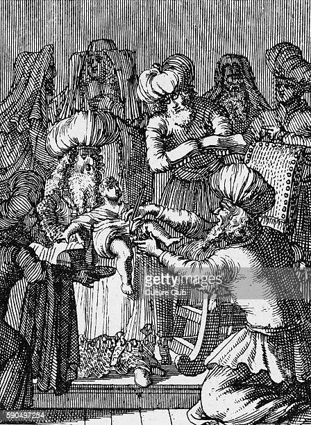 Circumcision of 8 day old baby boy according to the Jewish custom Performed by Sephardi Jews