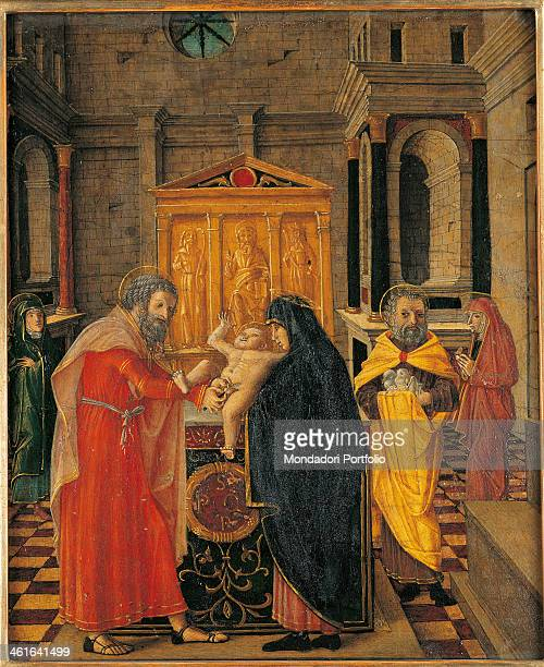 Circumcision of Christ by Bernardino Butinone 1450 1507 1516th Century board Italy Lombardy Bergamo Carrara Academy Whole artwork view Mary and...