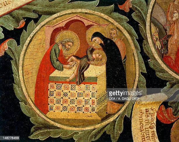 Circumcision of Jesus, detail from The Tree of Life, ca 1310, by Pacino di Buonaguida , tempera on wood, 248x150 cm. ; Florence, Galleria...