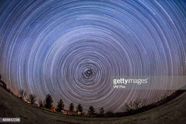 Circumpolar star trails from latitude +32 from southern Arizona, December 2015, from the Quailway Cottage. .