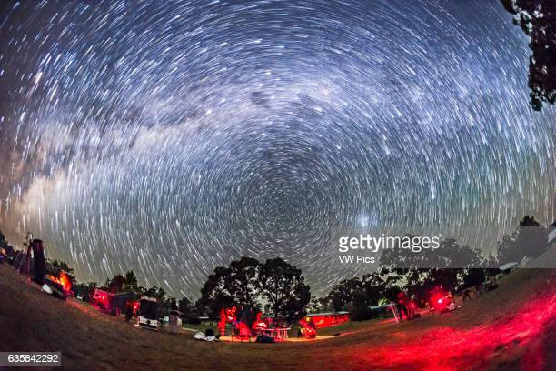 Circumpolar star trails over the OzSky star party near Coonabarabran NSW Australia on April 3 2016 This is a small annual star party attended by...