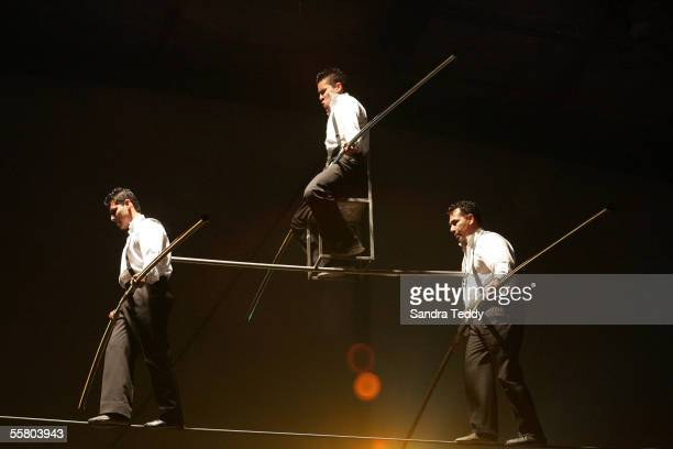 Circus acrobats balance on the high wire at the McDonald's Circus X show held at the North Shore Events Centre, Auckland, New Zealand, Wednesday 15th...