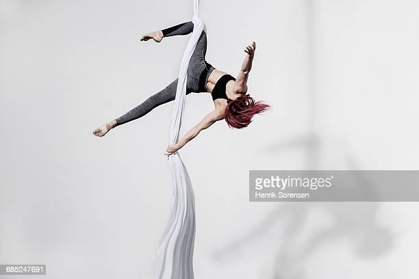 circus artist in silks - trapeze artist stock photos and pictures