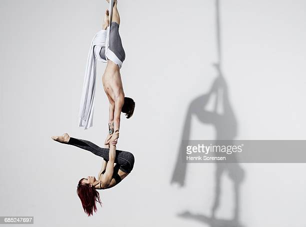 Circus artists in Silks