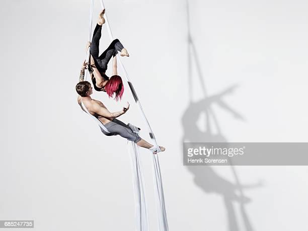 Circus artists in Silks