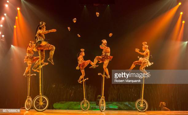 Circus artists perform on stage for the Cirque du Soleil 'Totem' show on March 22 2018 in Barcelona Spain
