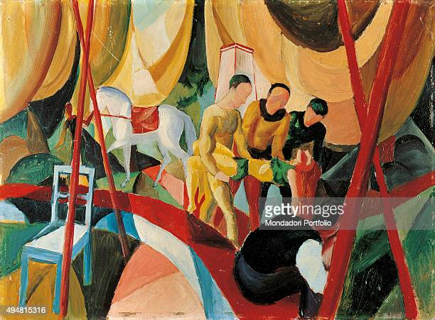 Circus by August Macke 20th Century oil on canvas 47 x 635 cm Spain Madrid Thyssen Bornemisza Museum Whole artwork view Under the marquee three...